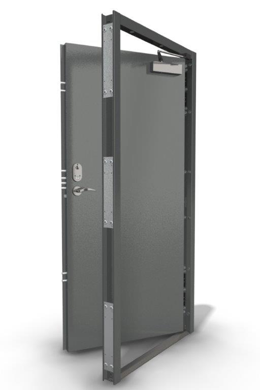Single Security Door with Triple Locks in Goosewing Grey