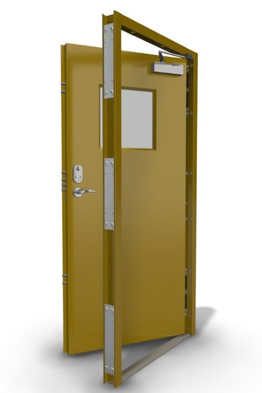 Single Security Door with Square Vision Panel in Rape Yellow