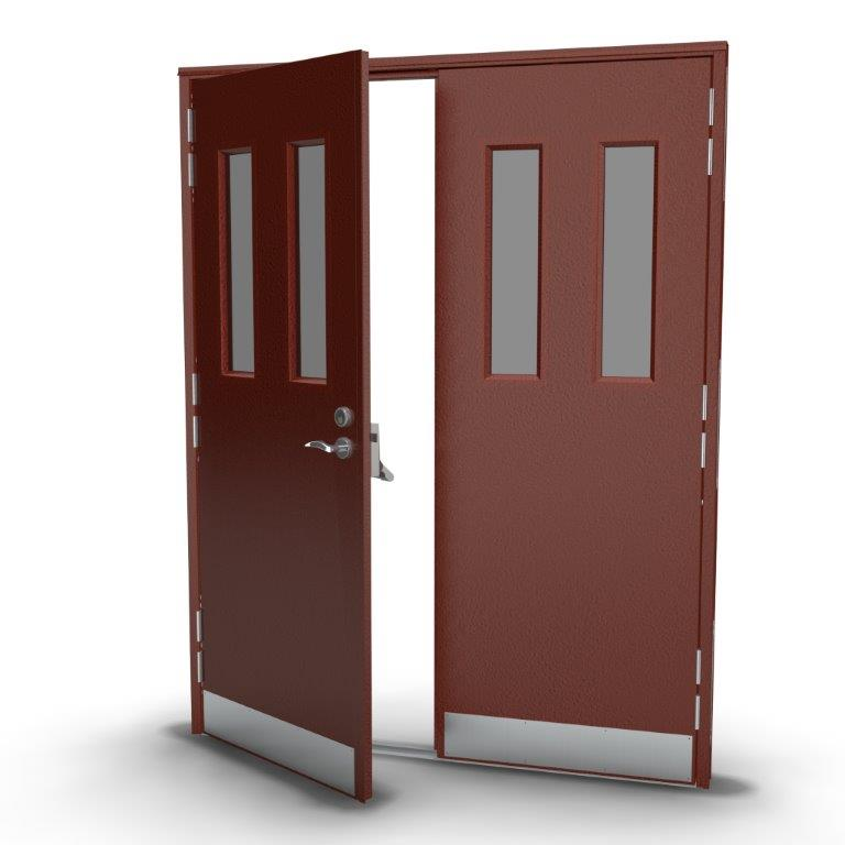 Double Security Door with Double Vision Panels in Poppy Red
