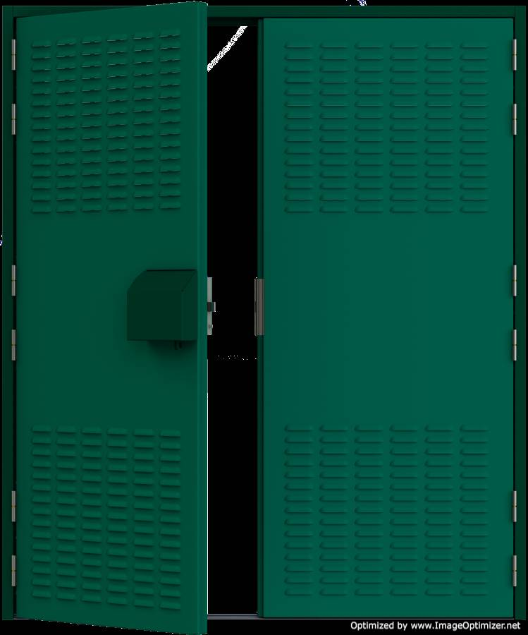 HMG Substation Doors - Double Louvred Door External